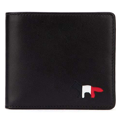 [メゾン キツネ] 二つ折り財布 レザー TRICOLOR WALLET LEATHER AU05307LC0003 BK [並行輸入品]