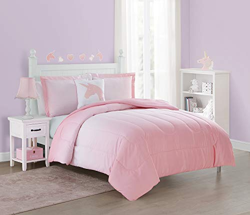 Unbranded Jada 4-Piece Ombre Stripe Comforter Set Featuring a Metallic Glitter Printed Unicorn Square Decorative Pillow, Bonus Wall Decals Included, Pink, Full,