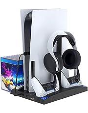 Supporto verticale per console PS5 con ventola di raffreddamento e stazione di ricarica del controller, supporto multifunzionale per console PS5, controller DualSense, cuffie, dischi di gioco