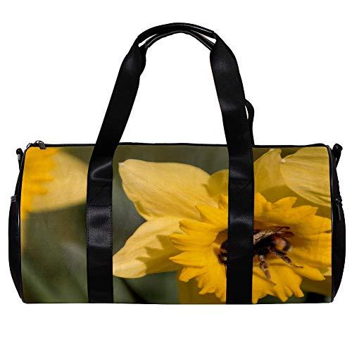 TIZORAX Borsone da donna per uomini e donne gialla tromba narciso sport palestra Tote bag weekend di viaggio viaggio all'aperto bagagli
