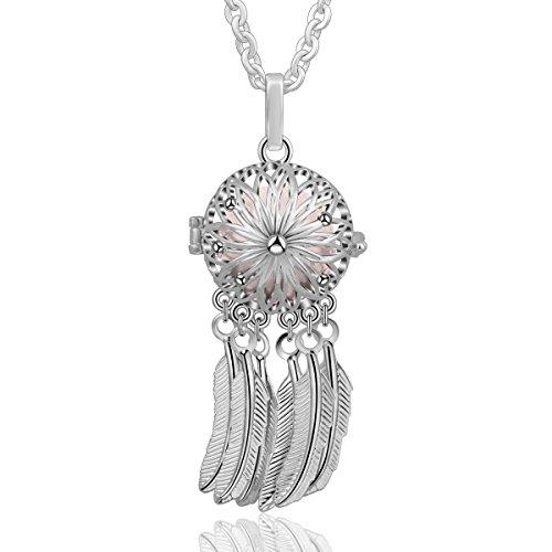 "Eudora Harmony Bola Dreamcatcher Locket Necklace 18mm Music Chime Ball Lucky Pluma Colgante para Mujeres Niñas Bonito Regalo Jewelry, 30""Chain"