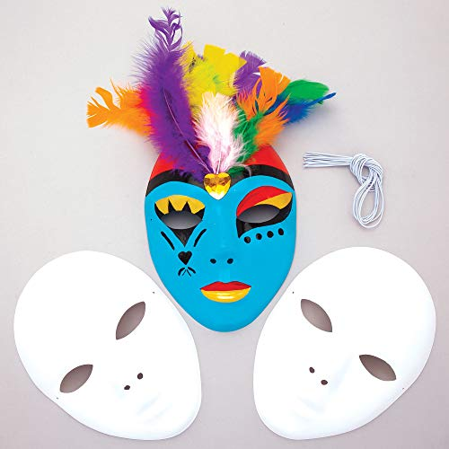 Baker Ross Blank Plastic Face Masks — Decorate Your Own Mask is Ideal Accessory for Halloween Costumes, Fancy Dress, Parties and More, Plain White (Pack of 6)