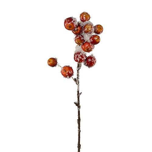 Künstlicher ZIERAPFELZWEIG mit SCHNEE. 43 cm. Apfel, Beeren- Zweig beschneit.
