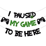 Purp Pie I Paused My Game To Be Here Banner Glitter Gamer Theme Party Decoration Sign Kids Children Boys Video Game Birthday Parties Supplies
