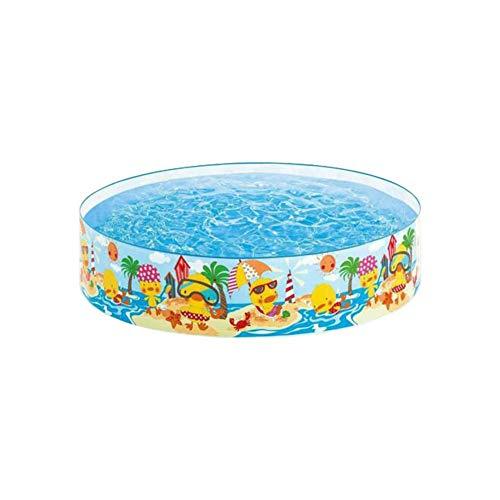121,9 x 24,9 cm kleines Kinder-Planschbecken aus Hartplastik, tragbarer Swimmingpool für kleine Jungen und Mädchen, für drinnen und draußen – Strandparty-Muster