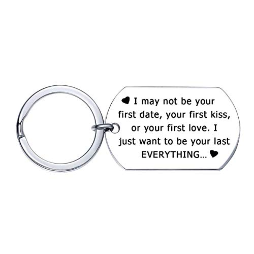 Valentine's Day Gifts for Wife Husband Couples, Anniversary Gifts Keychain for Boyfriend Girlfriend Men Him, I May Not Be Your First Date Kiss Love