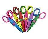 Honbay Pack of 6 Assorted Colors Kids Smart Paper Edger Scissors for Teachers, Students, Crafts, Scrapbooking, DIY Photos, Album, Decorative