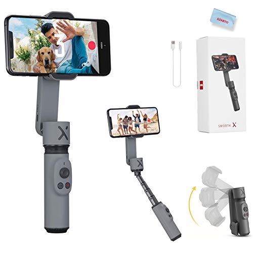 Zhiyun Smooth X Smartphone Estabilizador de Cardán para iPhone 11 Pro Xs Max Xr X 8 Plus 7 6 SE Android Samsung Galaxy S10 Huawei Vivo Cell Phone Vlog Kit Selfie Stick Extensible YouTube TIK T