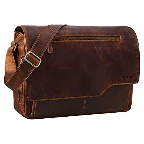 STILORD 'Marvin' Borsa Messenger vintage in pelle Grande borsa a tracolla da uomo donna per l'università ufficio lavoro Borsa porta PC 15.6 pollici, Colore:florida - marrone