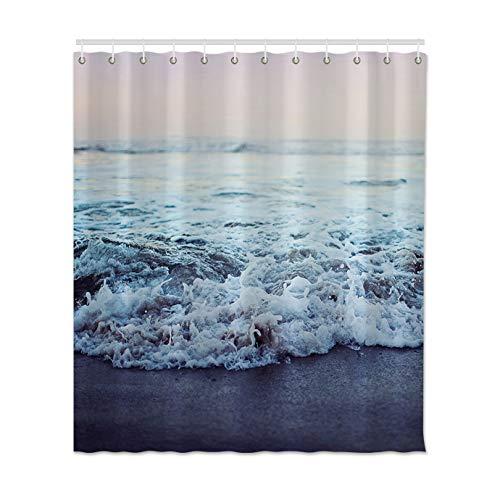 XCBN Cortina de Ducha de impresión Sea Wave Beach Impermeable y a Prueba de Moho Juego de Cortina de Ducha de baño con decoración de Gancho A2 180x180cm