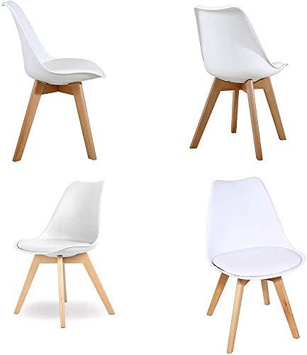 Un conjunto de cuatro silla de sala de oficina silla de tulipán de la vendimia con las piernas de roble macizo y asiento de cuero,White