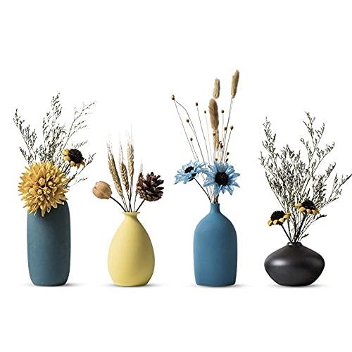 フラワーベース かわいい 花瓶 小さめ 陶器 つや消し面 おしゃれ 一輪挿し 花器 欧モダン シンプルデザイン インテリア装飾 生け花 和風花瓶 (イエロー)