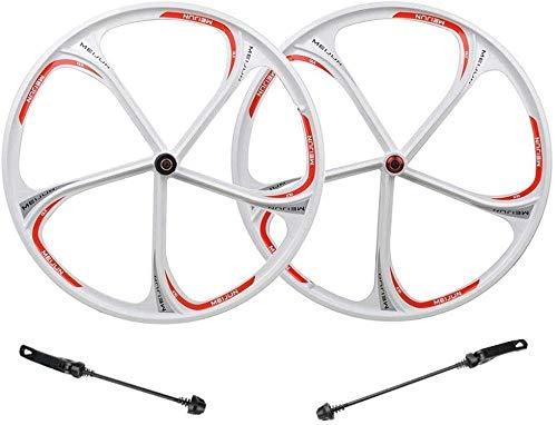 LIMQ Paar Fahrradräder 26 Zoll Felge Legierung Magnesium MTB Fahrrad Rad Vorne Hinten Release Schnelle 8-10 Geschwindigkeiten Bremsscheibe,Whitewheelset