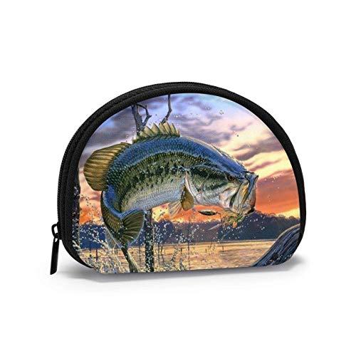 Oxford Cloth Bass Fishing Wallpaper Münzgeldbörse Kleine Reißverschlusstasche Brieftasche Wechselbeutel Mini Cosmetic Makeup Bags Organizer Mehrzweckbeutel