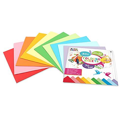 Papel de origami de Basic Craft multicolor, 80 hojas en 8 colores vivos, 20 x 20 cm, papel plegable para origami colorido, ideal para scrapbooking y manualidades artesanías, 70 gramos