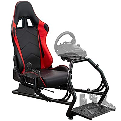 VIVO Racing Simulator Cockpit with Wheel Stand and Gear Mount (Chair and Frame Only), Fits Logitech, Thrustmaster, Fanatec | Compatible with Xbox One, Playstation, PC Video Games (STAND-RACE1B)