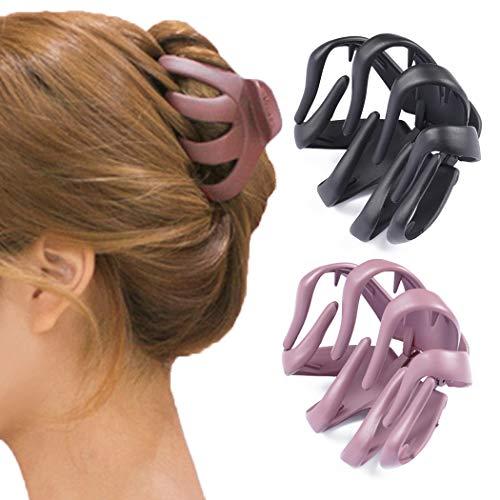 Avicom Haarspangen, schwarz, große Haarspange, rutschfeste Haarspangen, Haarnadeln, Haar-Accessoires für Frauen und Mädchen (2 Stück)