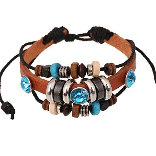 Armband voor vrouwen en mannen, vintage rundleer armband met houten kralen, bruin etnische stijl sieraden