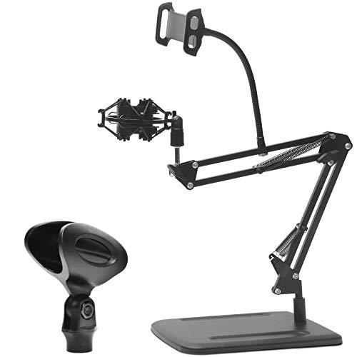 DIOKAYI Soporte de brazo de micrófono de escritorio ajustable con pinza de micrófono y soporte de choque, base de metal más ancha que hace que el soporte sea más estable en el escritorio.