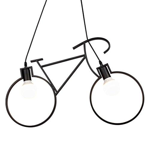 Vintage Industrial Windmill Lustre à vélo, Simple LED Plafonnier, American Village Restaurant Living Room Office Decorative Chandelier (Color : Black)