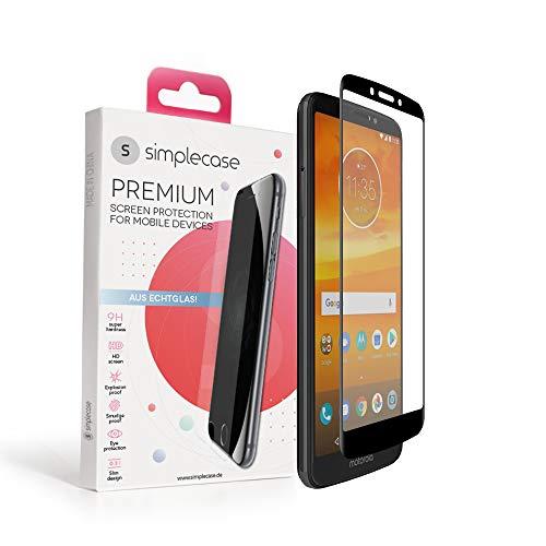Simplecase Panzerglas passend zu Motorola  Moto E5 Plus , FULL SCREEN Premium Bildschirmschutz , 100prozent Abdeckung , Optimaler Schutz , Extra Festigkeitgrad 9H , Schwarz - 1 Stück