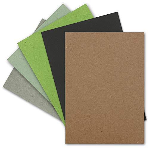 50x Vintage Kraftpapier Farbenmix-Paket - DIN A5-240 g/m² - Recycling-Papier, 100% ökologisch Bastel-Papier - UmWelt by GUSTAV NEUSER®