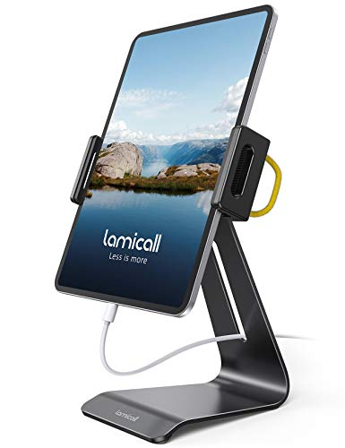 Lamicall Tablet Stand, Adjustable Tablet Holder - 360 Rotating Desktop Stand Mount Dock for iPad Pro 12.9, 11, 10.5, 9.7, iPad Air mini 2 3 4, Switch, Samsung Tab, iPhone, other Tablets - Black