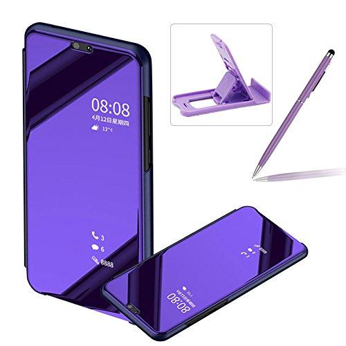 Coque Huawei P20 Clapet, Herzzer Housse Étui en PU Cuir Luxe Placage Technologie avec Transparente Miroir Design Bumper Dur PC Backcover Protector Fonction Stand pour Huawei P20 - Violet