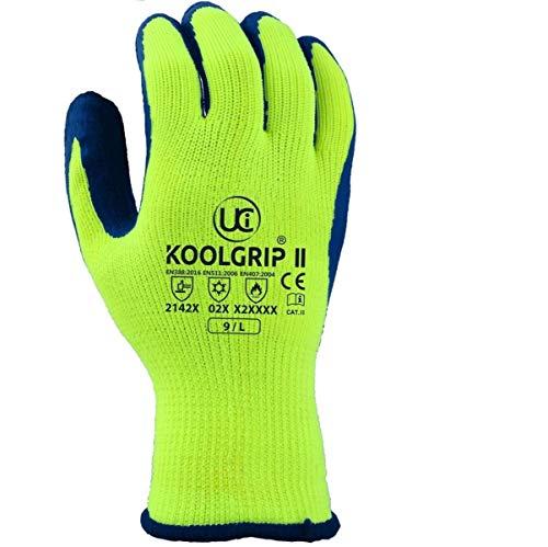 UCI Koolgrip-II dikke latex handschoenen met palmcoating - geel Hi-vis - groot - 1 paar