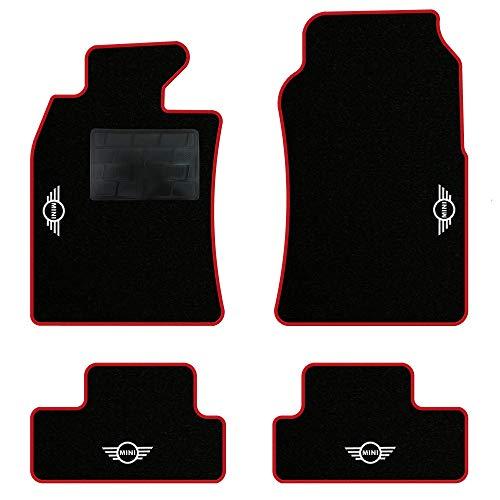 QUEMAR Kit Tappetini Auto per Mini R50 R52 Cabrio R53 / Set di Tappeti in Moquette e Gomma su Misura (2 Anteriori + 2 Posteriori) / 4 Ricami Personalizzati/Colori Personalizzabili (Bordo Rosso)