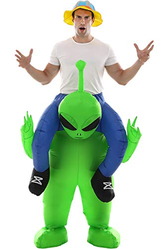 Double Couple Inflatable Alien Costume Fancy Halloween Blow up Costumes for Adult Kids Cosplay