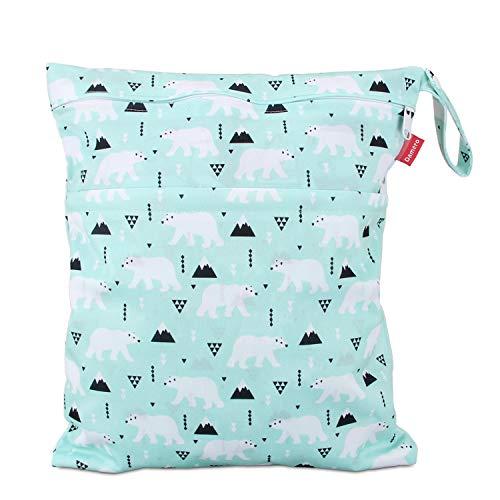 Damero windeltasche wetbag für Unterwegs, wiederverwendbar Nasstaschen für Babys Windeln, schmutzige Kleidung und anderes Zubehör, (Groß, Bär)