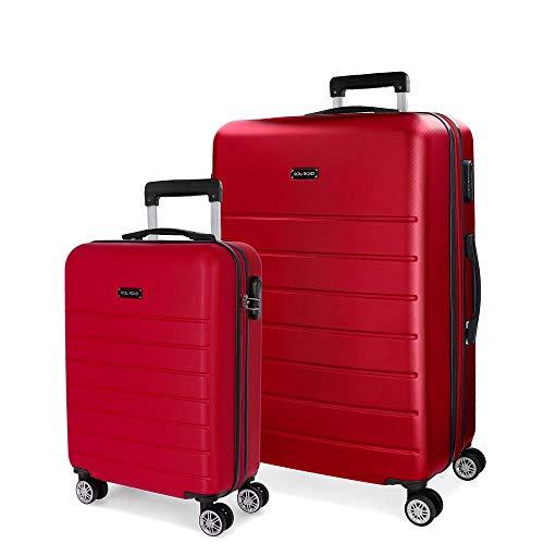 Roll Road Magazine Juego de maletas Rojo 55/66 cms Rígida ABS Cierre combinación 99L 4 Ruedas Dobles Equipaje de Mano