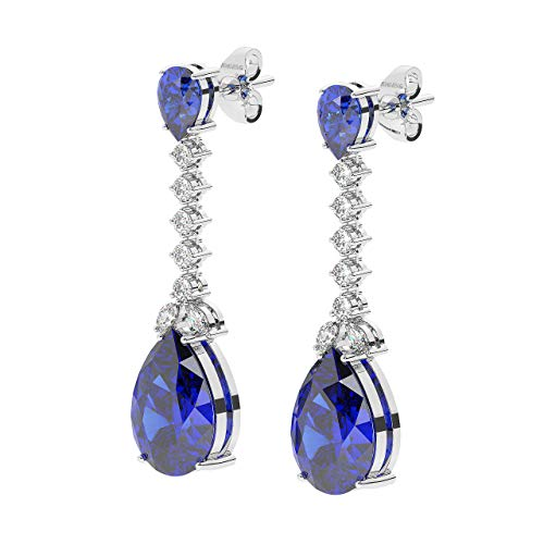 6.70ct Prong Set Round & Marquise Diamond & Pear Cut Blue Sapphire Stud Earrings in 18K White Gold