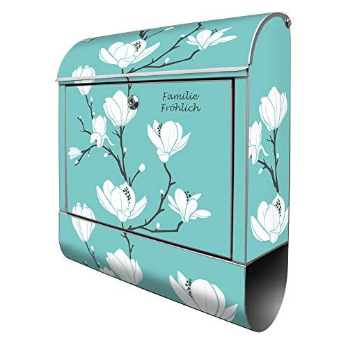 Banjado Design Briefkasten personalisiert mit Motiv Magnolien | Stahl pulverbeschichtet mit Zeitungsrolle | Größe 39x47x14cm, 2 Schlüssel, A4 Einwurf, inkl. Montagematerial