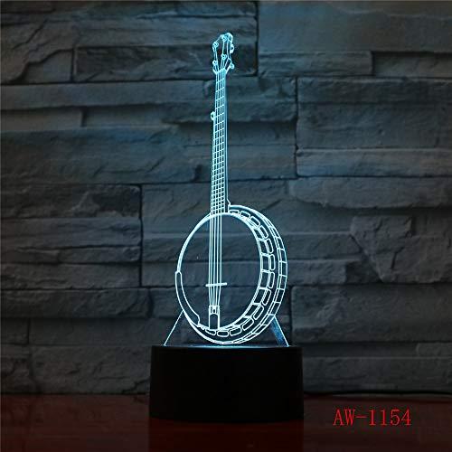 3D LED Ändern Kinder Geschenke Kreatives Nachtlicht Banjo Modellieren Schreibtisch Lampe Musikinstrumente Home Decor Licht