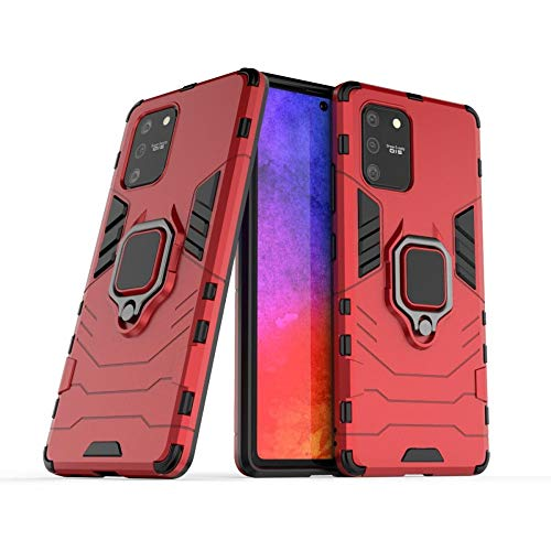 COOVY® Cover für Samsung Galaxy S10 Lite / A91 SM-G770F/DS/SM-A915F/DS Bumper Case, Plastik + TPU-Silikon, extra stark, Anti-Shock, Stand Funktion + Magnethalter | rot