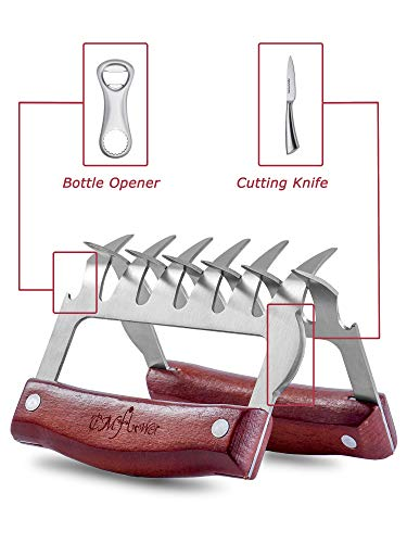 CMflower Metal Meat Claws Stainless Steel Meat Shredder Forks Wood Handle Cutting Knife Bottle Opener Barbecue Tool Set for Easily Shredding Pulling Lifting BBQ MeatBeefBrisketChicken