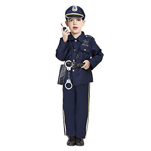Acekid Halloween Police Man Costume for Kids (S(5-7)) Navy