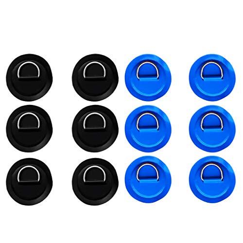 B Baosity 6 Piezas de Acero Inoxidable D Anillo Almohada/Patch para PVC Inflable Barco de Azul