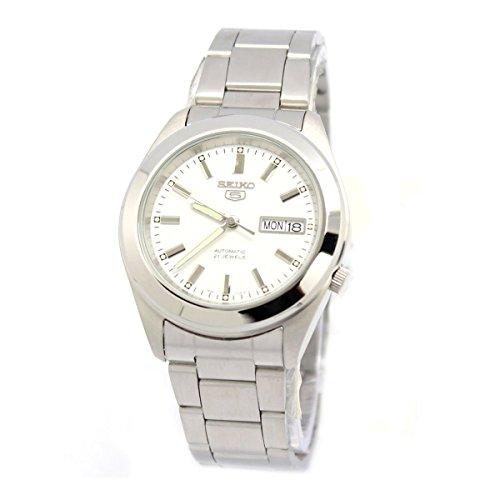 Reloj de caballero automático 21 JW - SEIKO 5 - Acero inoxidable-Esfera blanca-Calendario - Mod. SNKM61K1