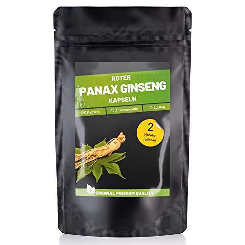 FITNESS VITAL Panax Ginseng Kapseln hochdosiert 410 mg vegan | 120 Roter koreanischer Ginseng Extrakt Kapseln min. 10% Ginsenoide | Koreanischer roter Ginseng Extrakt