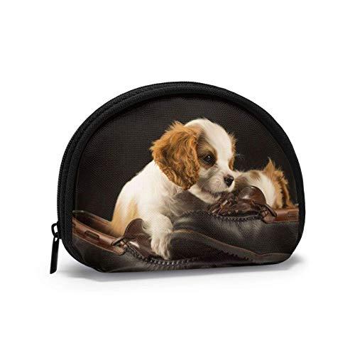 Bolsa de tela Oxford, color blanco, marrón, zapatos de cachorro, monedero, monedero, bolsa de cambio, bolsa de maquillaje, bolsa de cosméticos