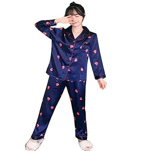 Pijamas de Seda de Manga Larga para Primavera y otoño,Conjuntos dePijamas paraMujer, Pijamas de Dormir Bonitos Estampados de Talla Grande 3XL 4XL 5XL 85kg, Ropa de Dormir