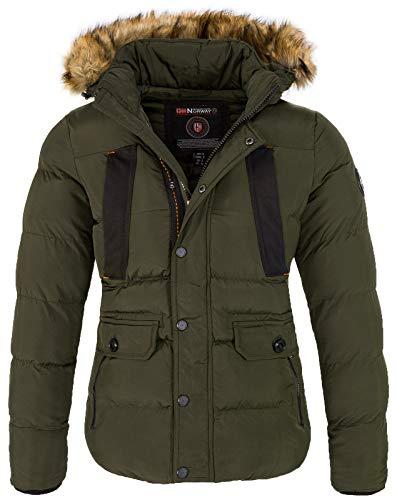 Geographical Norway - Giacca invernale da uomo con cappuccio in pelliccia sintetica verde scuro XXL