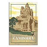 ZHBIN Kambodscha Vintage Reise-Poster Angkor Wat Tempel