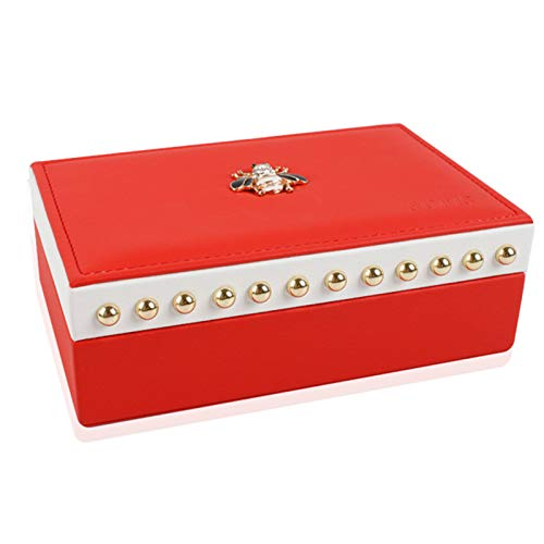 LANFENG Jewelry Box Storage Box, Double-Layer PU Leather Jewelry Storage Box, Suitable for Women,Red