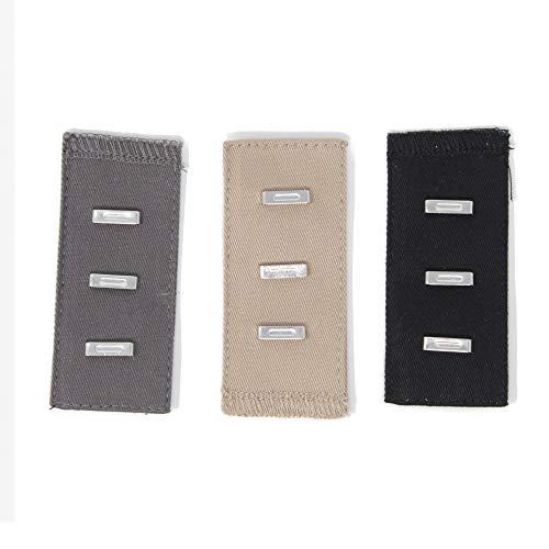 Gründl 3 stuks Verlenging met haken voor broek & rok beige grijs zwart 1363