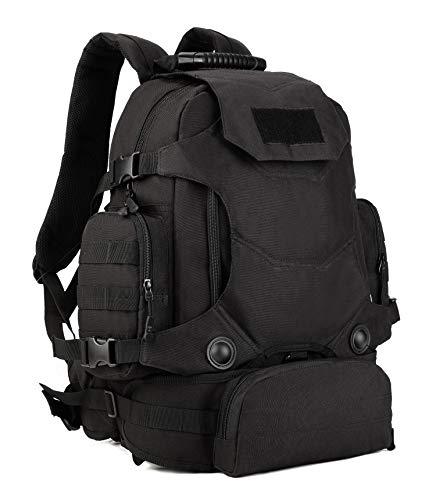 Yakmoo Sac à Dos Tactique de Grande Capacité 3 Façons d'Utiliser Militaire Backpack Imperméable Molle Système Sac d'école en Nylon 40L à l'Air Libre