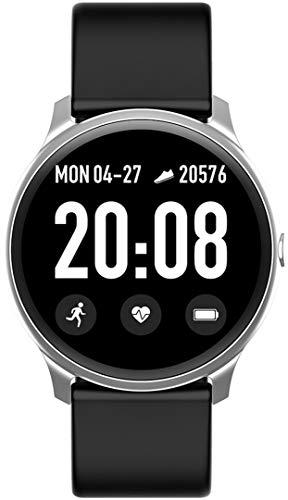 Gino Rossi Smartwatch, pulsera de fitness, reloj inteligente con podómetro, pulsómetro, cronómetro, para mujer y hombre, reloj deportivo para iOS y Android